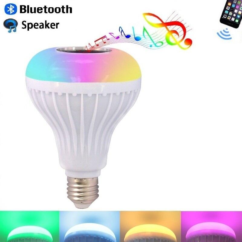 RGB LED Sem Fio Bluetooth Speaker Lâmpada E27 B22 12W Inteligente lâmpada led Music Player de Áudio com 24 Chaves Remoto controle JTFL248-ly
