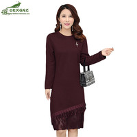 Boutique spring new knit dress female fashion sexy high end long sleeved knee length lace underwear dress female OKXGNZ AF648