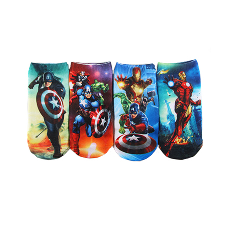 1 Pcs Super Hero Comic Kids Socks Boys Cotton Socks 2-8 T Child Superman SpiderMan Socks Men Captain America Cartoon Boat Socks
