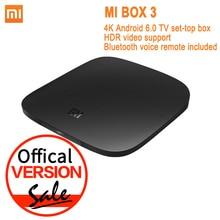 Глобальная версия Сяо Mi Ми ТВ коробка 3 Android 6.0 4 К 8 ГБ hd Wi-Fi Bluetooth многоязычная Youtube DTS Dolby IP ТВ Smart Media Player