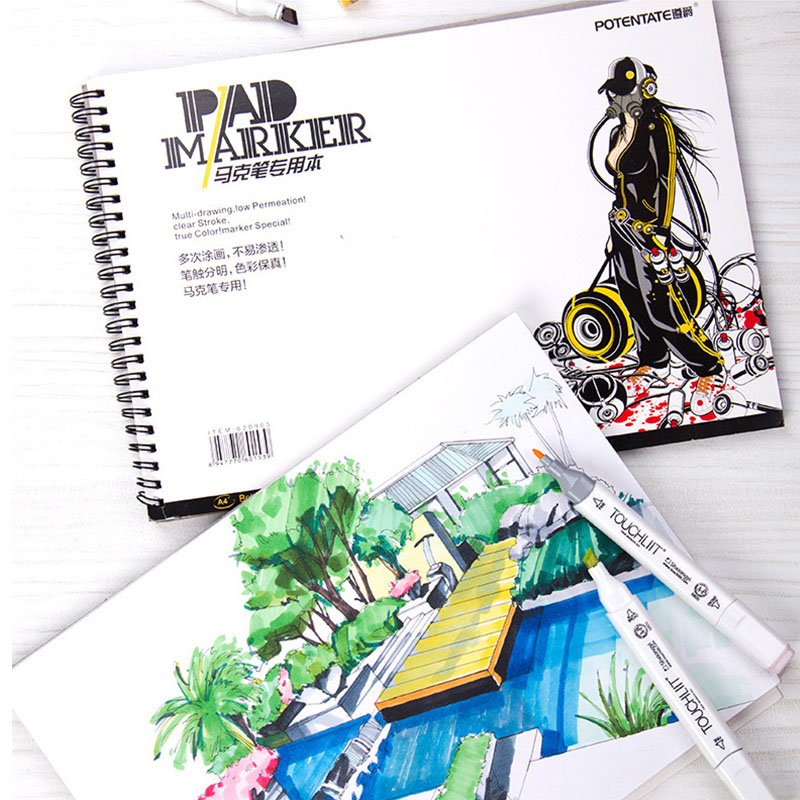 A3/A4 Mark Pen Paper With Hand-Painted Paper Coil / Tearable 32 Sheets Sketch Painting Book Paper School Stationery