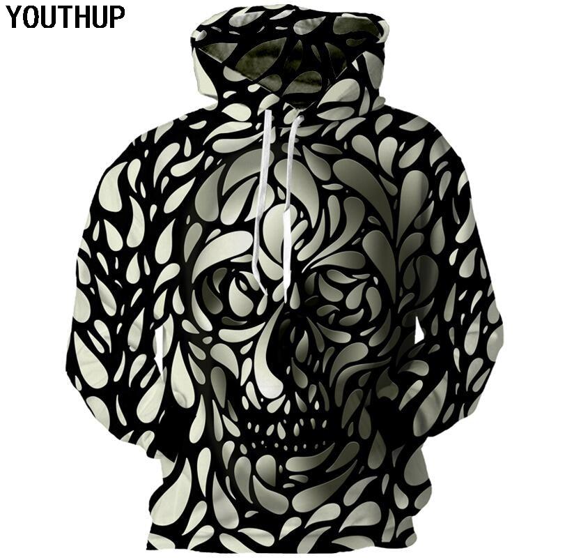 YOUTHUP распродажа Для мужчин 3D толстовки с капюшоном череп 3D печати Кофты модные толстовки Для мужчин пуловер Топы уличной хип -хоп