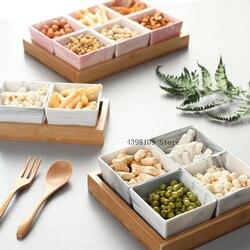 Nordic półmisek na owoce kreatywne ceramiczne oddzielone przekąski/orzechy/deser suszone talerz na owoce oryginalne ekologiczne naturalny bambus taca