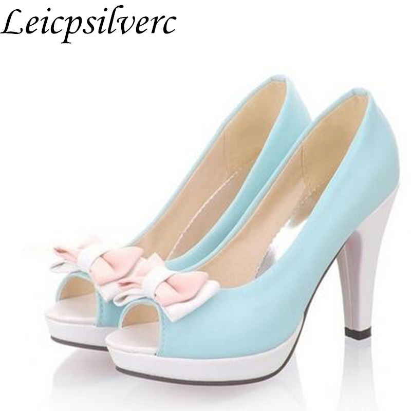 New arrival Spring Women shoes high heels Pumps Open toe Platforms Cute  Sweet Pink White-in Women s Pumps from Shoes on Aliexpress.com  692677b09bb5