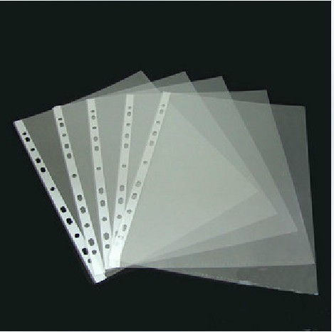 100 X A4 Clear Plastic Punch Punched Pockets Folders