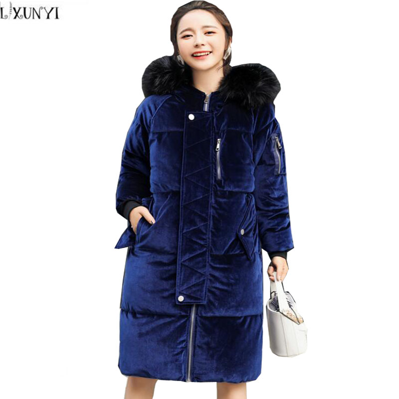 LXUNYI New Winter Cotton-Padded Jackets and Coats Korean Fashion Women's Casual Hooded Velvet Thick Warm Parka Jacket Fur Collar цены онлайн