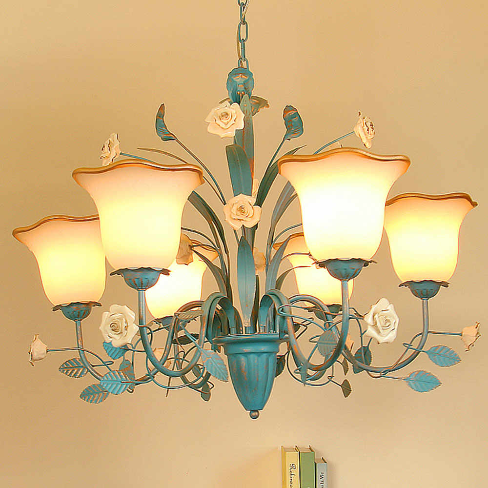 chandelier Led blue chandeliers for the bedroom 110 220v blue Nursery suspension flower lamps luminarias