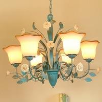 chandelier Led blue chandeliers for the bedroom 110 220v blue Nursery suspension flower lamps luminarias