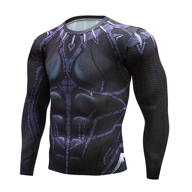 32633c69407 Superhero Black Panther 3d t Shirts Printed Cosplay Costumes Compression shirts  Tops Male T-shirts Long Sleeves Tops Tee