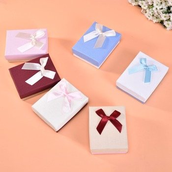 High Quality Jewelry Package 12Pack/Lot  Creative Box Ribbon Bow Necklace/Earring Kraft Paper 8x5x3 cm Gift Cases