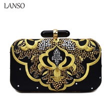 2016 Women Vintage Gem Diamond Clutch Chinese Style Embroidery Cheongsam Chain Bag Luxury Silk Evening Banquet Purse Wristlets