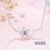 Promotions S925 Sterling Silver Branch Cherry Blossom Necklace Fashion Jewelry for Women's Fashion Gifts