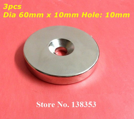 Wholesale 3pcs Super Strong Neodymium Countersunk Ring Magnets Dia 60mm x 10mm With Hole 10mm N35 Round Rare Earth NdFeB Magnet natali kovaltseva подвесная люстра natali kovaltseva biarritz 70038 3c ivory gold 40275