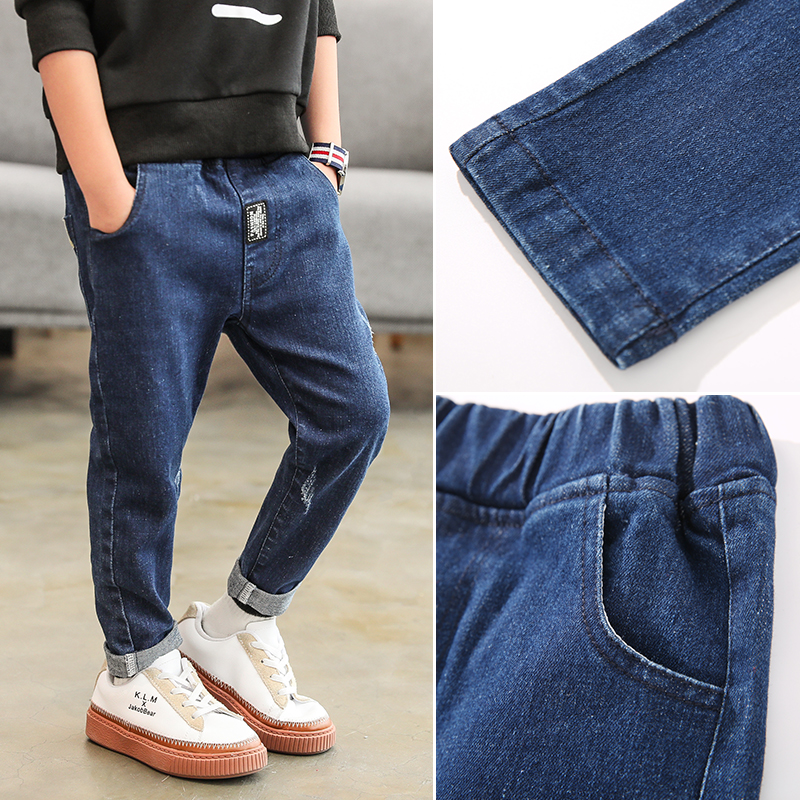 YODINA Kids Jeans Big Boys Trousers Autumn Spring Casual Jeans Kids Solid Pants Elastic Waist Children Clothing 8 10 12 14 Years new spring autumn children s leggings suit pants elastic waist regular plaid fashion active big boys pants long trousers