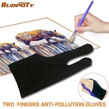 Противообрастающие перчатки с двумя пальцами для художника, рисования и ручки, графический планшет, коврик, бытовые перчатки, правая левая рука, черные перчатки, свободный размер