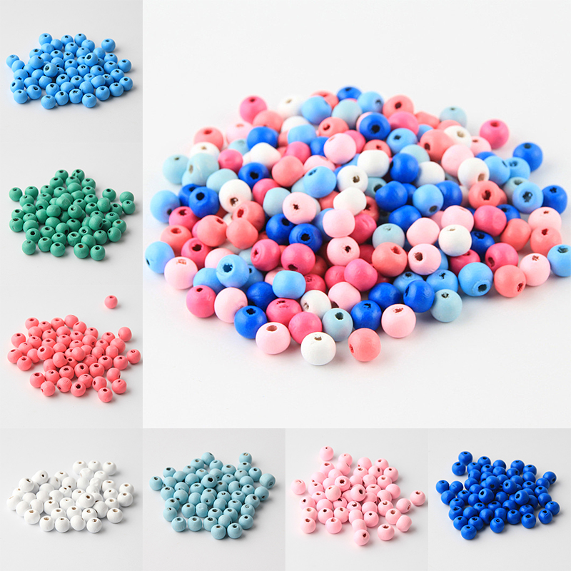 150pcs Unfinished Wooden Beads Round Balls Baby Teether Toys 6mm 8mm 10mm
