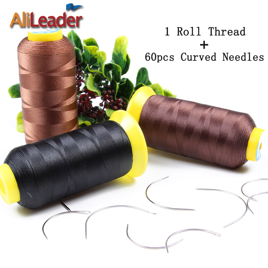 Weaving tools promotion shop for promotional weaving tools on 1 roll blackdark brownlight brown nylon hair weaving thread and 60pcs 6cm9cm curved hair weaving needles hair making tools pmusecretfo Choice Image