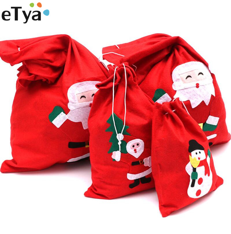 ETya Women Drawstring Bag Packing Bag Santa Claus Small Big Christmas Gift Bags Kids Party New Year Gift Holders Bag