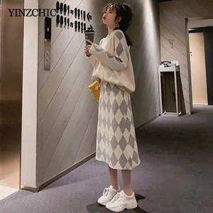 Image 4 - New Woman Winter Knitted Suits Hoody Sweater A line Skirt Set for Woman Female Casual Two pieces Sets