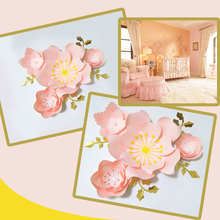 Handmade Light Pink  Rose DIY Paper Flowers Leaves Set For Party Wedding Backdrops Decorations Nursery Wall Deco Video Tutorials