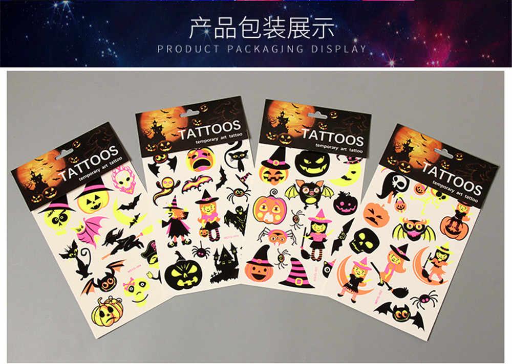 เด็กชั่วคราว TattoosTattoos สติกเกอร์โกลว์ฮาโลวีนฟักทองแมงมุมเรืองแสงกันน้ำ Tattoo Art ฮาโลวีน
