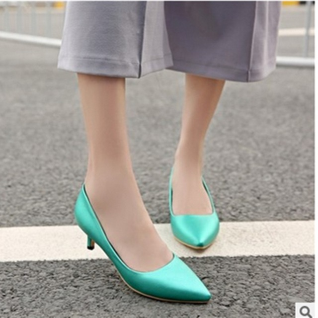 Lady's Pink Shallow Mouth Pointy Toe Plus size 34-45 Low Thin Heels Women Silver Pumps Sophia Webster Party Slip-On Single Shoes