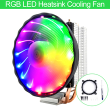 RGB LED Heatsink Cooling Fan Silent CPU Cooler 3 Pin RGB Fan Cooler For Intel LGA 1150 1151 1155 1156 1366 775 AMD цена и фото