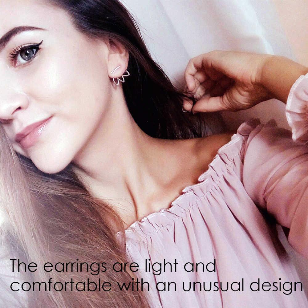 E-Manco แท้ 925 สเตอร์ลิงเงิน Stud ต่างหูสำหรับผู้หญิงรูปแบบเรขาคณิต Individuality Stud ต่างหูยี่ห้อเครื่องประดับ Fine