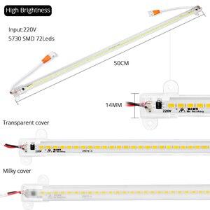 Image 3 - 10PCS/lot AC 220V Led Bar Light 50CM 5730 72Leds Led Rigid Strip Led Tube Lamp Driverless High Brightness Kitchen Cabinet Light
