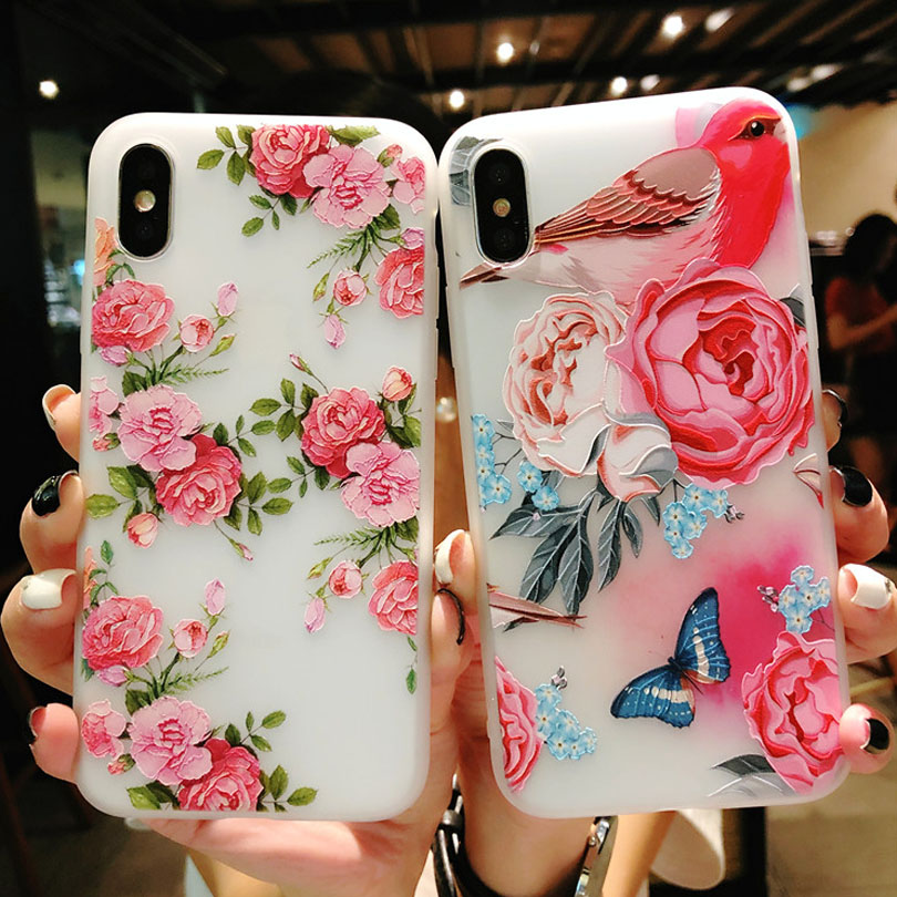 separation shoes dc75f b6193 Lotus Flower Case For iPhone 8 Plus XS Max XR 3D Relief Rose Floral Phone  Case For iPhone X 7 6 6S Plus 5 SE TPU Cover