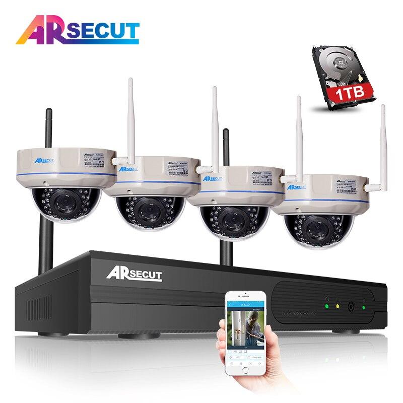 bilder für 4CH CCTV-System Drahtlose NVR Kit 960 P 1.3MP HD Freien IR Nachtsicht H.264 Sicherheit Ip-kamera WIFI Überwachung System 1 TB HDD