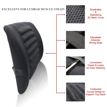 1PCS Breathable Mesh Cloth Car Seat Lumbar Cushion Pillows Soft Cotton Back Support for Car Seat and Office Chair Lumbar Support 1