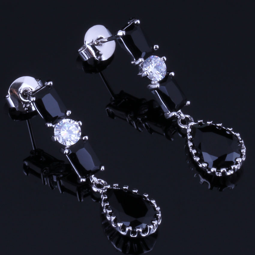 Flawless Water Drop Black Cubic Zirconia White CZ 925 Sterling Silver Dangle Earrings For Women V0731