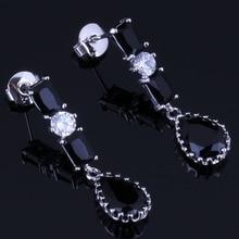 Flawless Water Drop Black Cubic Zirconia White CZ 925 Sterling Silver Dangle Earrings For Women V0731