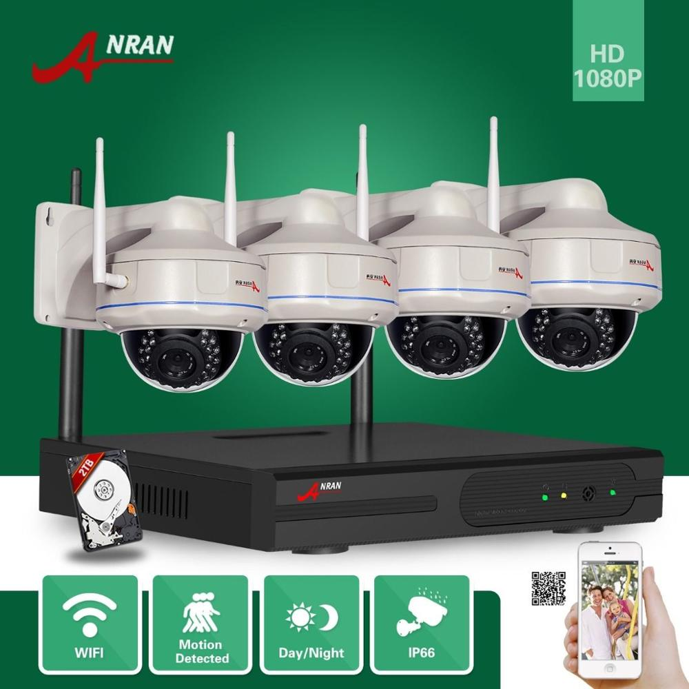 ANRAN Surveillance CCTV HDMI 4CH NVR VandalProof Dome IR 2.0 MegaPixel Wireless WIFI 1080P Network IP Camera System With 2TB HDD 4ch wifi nvr security system 1080p cctv nvr hdmi 4pcs 2 0 megapixels dome ir ip camera wireless surveillance kit 2tb hdd
