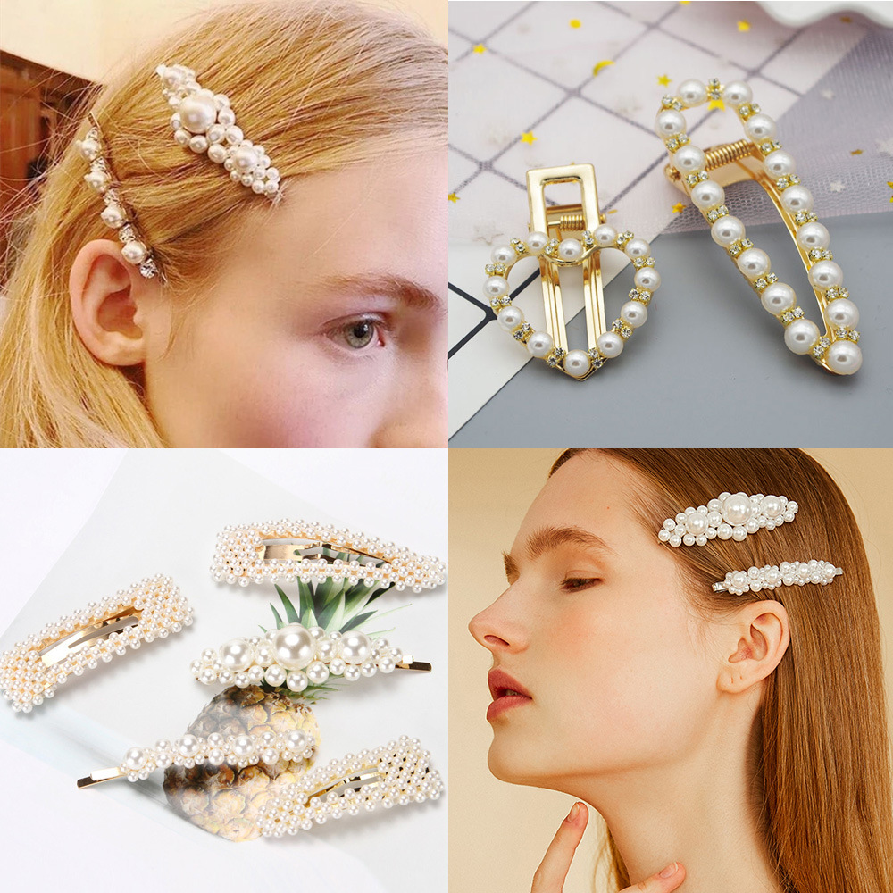 Ruoshui Pearl Clips For Woman Girls Delicate Hairpins Crystal Hair Grips Ladies Hair Accessories Girls Metal Fashion Barrettes