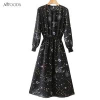 NATOODA Starry Sky Pattern Women Dress 2 Pics A Line Fashion Vintage High Waist Long Sleeve