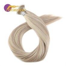 Moresoo 16-22 дюймов микро нано кольцо волосы для наращивания машина Remy человеческие Предварительно Связанные волосы для наращивания 0,8 г/локон 50 акций бразильские волосы