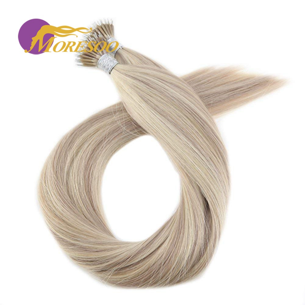 Moresoo 16-22 Inch Micro Nano Ring Hair Extensions Machine Remy Human Pre-bonded Hair Extensions 0.8g/s 50 Shares Brazilian Hair