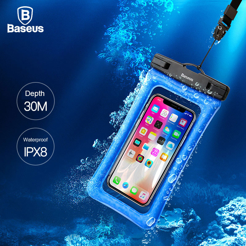 Baseus 6 Universal IPX8 Waterproof Case For iPhone X 8 7 6 6s Plus Samsung S9 S8 Note8 Waterproof Bag Case For Phone Pouch