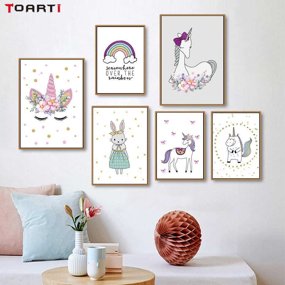 Picture Home Decor: Nordic Cartoon Animals Unicorn Rabbit Canvas Painting Wall