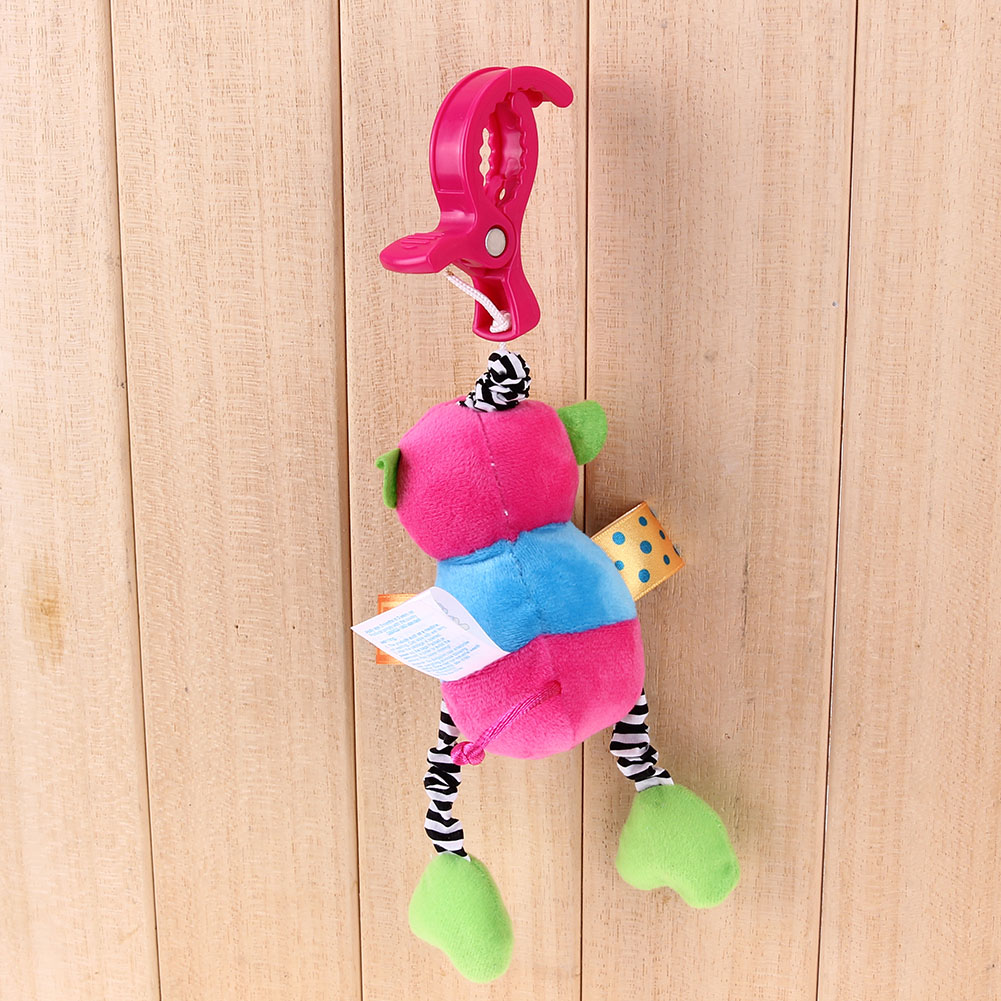 Baby Rattles Toys Plush Doll Toy Cartoon Monkey Frog Shape Animal Clip Baby Stroller Bed Hanging Bells Toy