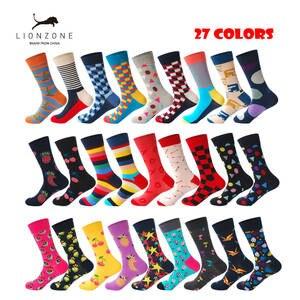 681ae6ea8a4 LIONZONE Happy Socks Striped Plaid Men Combed Cotton