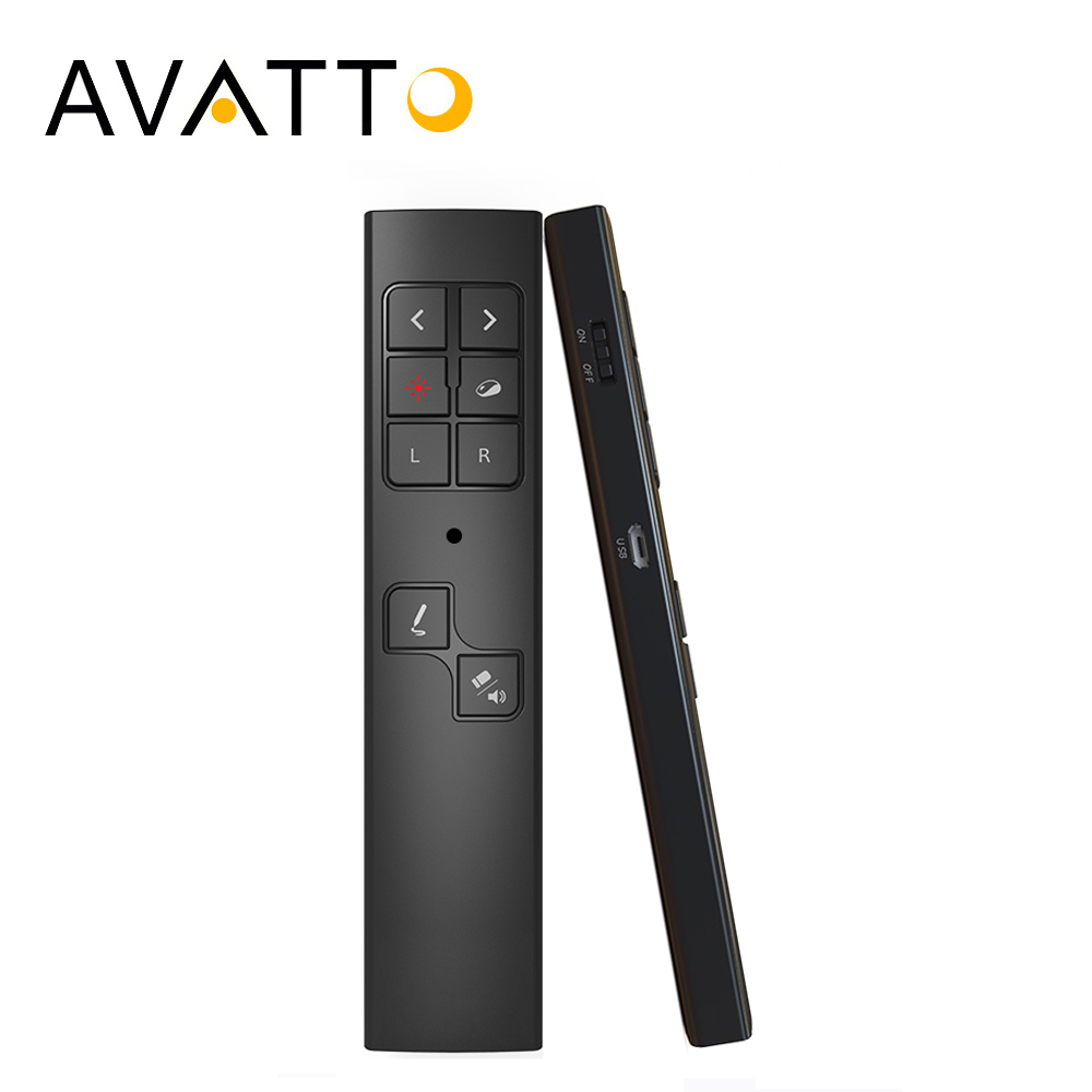 AVATTO Rechargable 2.4GHz Wireless Laser Presenter Pen with Air Mouse,Notation,PPT Clicker Remote Control For Teaching Meeting цена