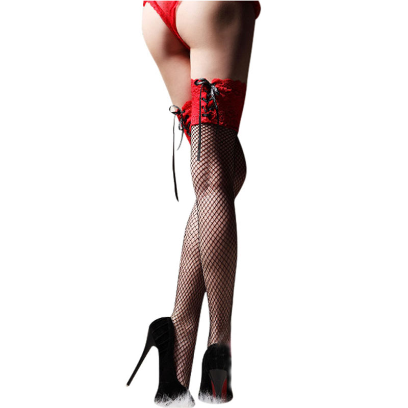 2019 New Hot Sale Women Sexy Stockings Sheer Straps Lace Fishnet Mesh Top Thigh High Sexy Lingerie Tight High Stockings 3 Color