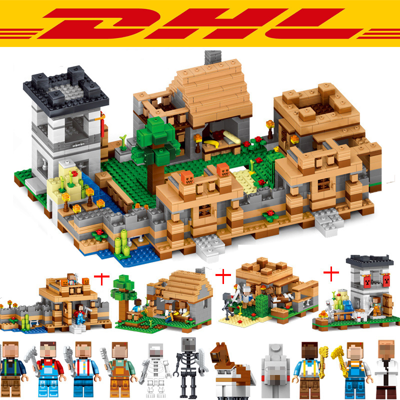 1221Pcs 0512 Minecraftes My World Figures Dream Village Model Building Kits Blocks Bricks Compatible Toys For Children Gift 10646 160pcs city figures fishing boat model building kits blocks diy bricks toys for children gift compatible 60147
