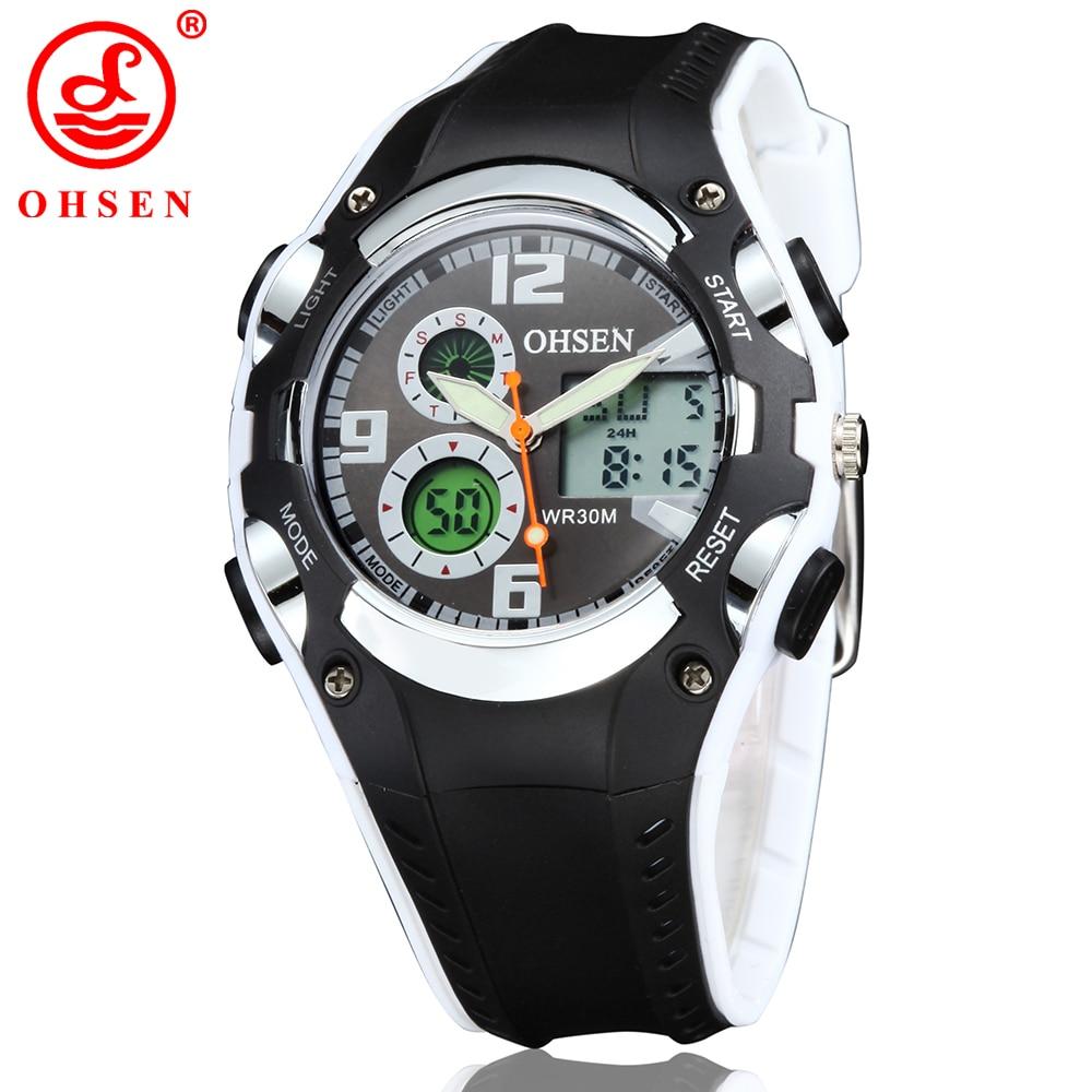 все цены на Fashion Brand OHSEN Analog Digital Watch Kids Sport Watch Quartz Wristwatches Children Boys Alarm Waterproof Rubber Band Relogio онлайн