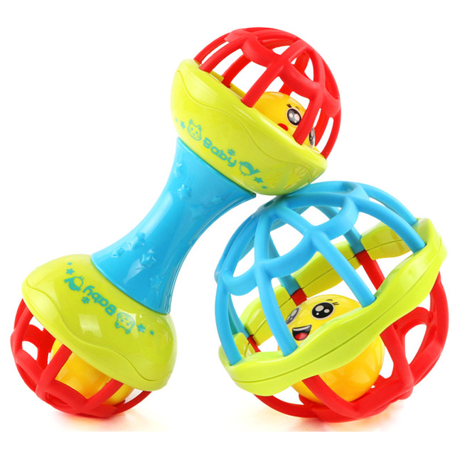 1 Piece Baby Rattles Toy Food Grade Teething Rattle Plastic Hand Bell Intelligence Grasping Gums Baby Teether Toy For 0-3years