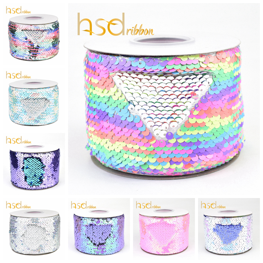 HSDRibbon 3 inch 75MM double color Sequin Fabric Reversible Sequin Ribbon 25Yards Roll