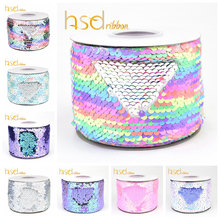 HSDRibbon 3 inch 75MM double color Sequin Fabric Reversible Sequin Ribbon 25Yards/Roll(China)
